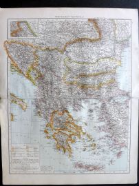 Times 1895 Antique Map. Balkan Peninsula